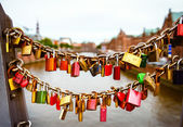 Locks on  bridge in Hamburg — Stock Photo