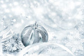Silver Christmas bauble — Stock Photo