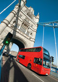 London bus on Tower Bridge — Stock Photo