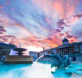 Trafalgar Square at sunset — Stock Photo