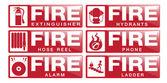 Požární bezpečnostní značky — Stock vektor