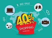 Big Sale Shopping Sign Vector — Stock Vector