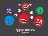 Bacteriën & virus cartoon vector — Stockvector