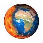 Burning globe earth and Global Warming — Stock Photo