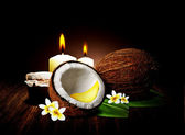 Coconut Honey Spa and wellness setting with natural — Stock Photo