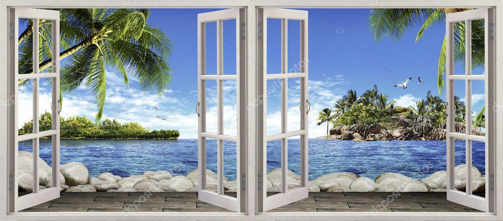 fenster offen sch ne aussicht stockfoto sazori 50964953. Black Bedroom Furniture Sets. Home Design Ideas
