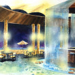 Beach bar at night water color illustration — Stock Photo