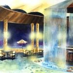 Beach bar at night water color illustration — Stock Photo