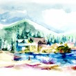 House resort by the lake in mountain illustration — Стоковая фотография