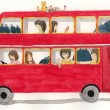Red bus with girls and cat illustration — Stock Photo