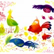 Colorful birds cartoon illustration — Stock Photo #32993825