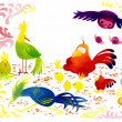 Colorful birds cartoon illustration — Stock Photo