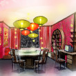 Dinning room chinese style house renovate — 图库照片