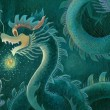 Acrylic painting of a Chinese dragon — Foto Stock