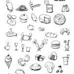 Food icons hand drawn illustration — Stock Photo