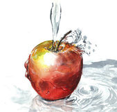 Apple with water painting — Stock Photo