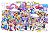 Lively and colorful flea market in Asia — Stock Photo