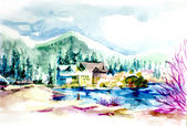 House resort by the lake in mountain illustration — Stock Photo