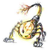 Energia consumano mostro, lampadina scorpione — Foto Stock