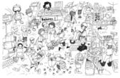 Black and white drawing of busy market cartoon — Stock Photo