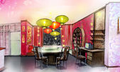 Dinning room chinese style house renovate — Stock Photo