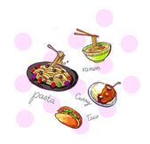 International food icons illustration hand drawn — Stock Photo