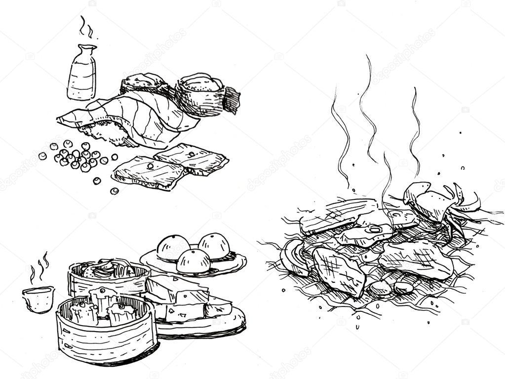 食品手绘, 寿司, 清酒