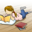 Girl reading book on the floor — Stock Photo