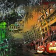 Halloween pumpkin old town painting — Stock Photo