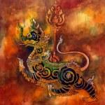 Thai mythology lion Sigha painting — Stock Photo #33005791