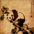 animal panda pintura chinesa — Foto Stock