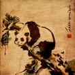 中国絵画動物パンダ — ストック写真