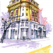 Stock Photo: Historical Georgibuilding. Savannah drawin