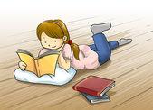 Mädchen lesen buch auf dem boden — Stockfoto