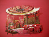 Red indian style bedroom interior with round bed Red indian style bedroom interior. Luxury design with hot color tone — Stock Photo