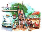 Bushalte, openbaar vervoer cartoon, tekening — Stockfoto