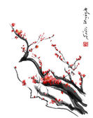 Sakura, cherry blossom plum chinese brush paintingRed cherry blossom chinese brush painting — Stock Photo