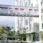 Modern building and sky walk way architect — Stock Photo