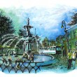 Savannah georgia beautiful fountain  tourist place illustration — Stock Photo