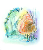 Quartz cave rainbow color fantasy illustration — Stock Photo