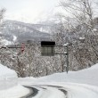 Road cover with snow in  japan mountain — Foto de Stock