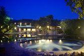 Resort Jacuzzi pool at night — Stock Photo