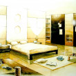 Sepia tone bedroom interior illustration design — Stock Photo #33971407