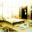 Sepia tone bedroom interior illustration design — Stock Photo