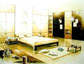 棕褐色调卧室室内插画设计 — 图库照片