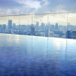 Infinity pool on high condominuim building — Stock Photo