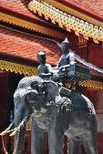 Sculpture of man and elephant — Stok fotoğraf