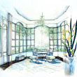 Luxury white light interior illustration — ストック写真