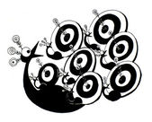Funny graphic targeted peacock black and white illustration — Stock Photo
