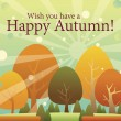 Happy autumn, thanksgiving color changing trees — 图库矢量图片